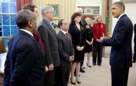 Image: Professor Karen Panetta, creator of Nerd Girls, receives and award and congratulations from President Obama for her work in engineering outreach.